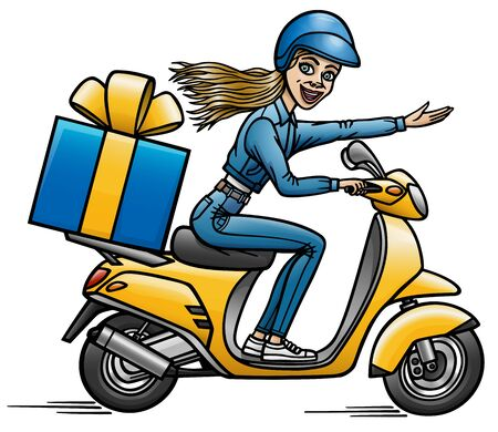 Cartoon girl carries a gift to the customer on a scooter. Illustration