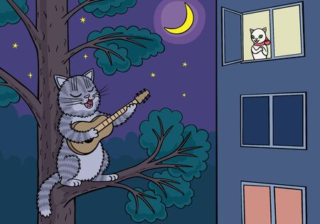 Cat guitarist performs his show under the moon. Illustration