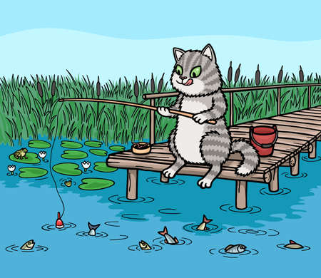 Cat fishing on the pier. He holds the rod and looks at the float.