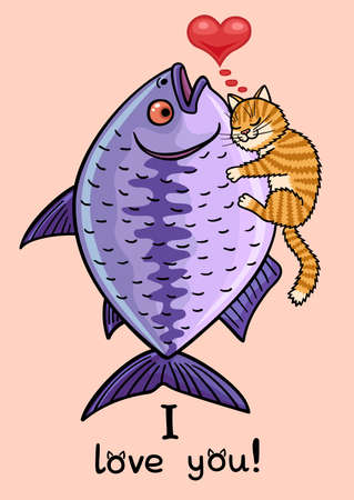 The cat hugs a huge fish. The cat is very happy. Illustration