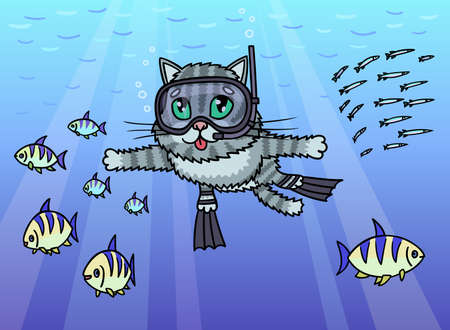 Cat diver swims under water. He observes the life of fish.