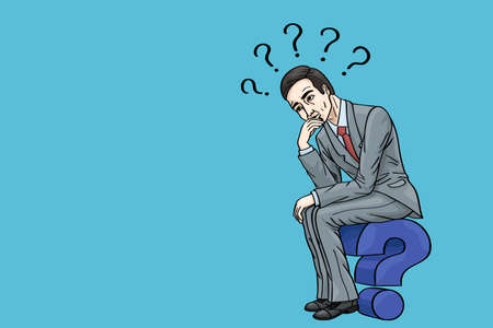 A business thinker thinks to solve his questions.