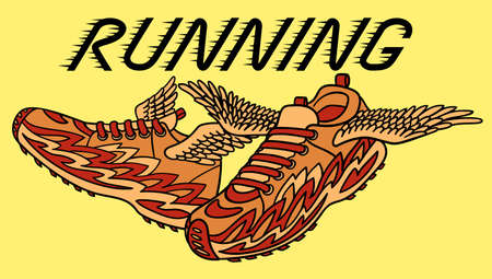 Logo for running depicting the mythical flying sneakers