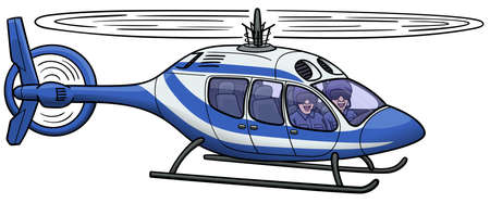 Cartoon police helicopter flying in the air. He has two officers in the cockpit. Ilustrace
