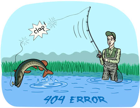 The fisherman missed a big pike. The fish broke the line and took the lure with them.