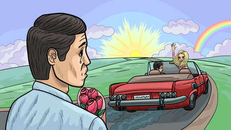 The guy came on a date with a girl with flowers, but she left with another one. Vector Illustration