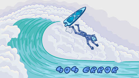 The template for the web page error 404. The robot surfer failed and fell off the wave.