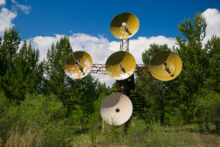 Radio telescope in the mountains in Russia