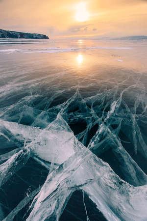cracks in ice: Cracks in the ice of Lake Baikal at sunset. Siberia