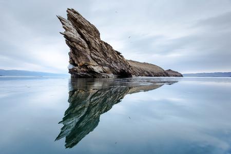 The rocky promontory on the island Ogoy. Lake Baikal. Siberia.