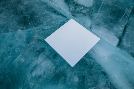 Mirror on pure ice in Baikal lake