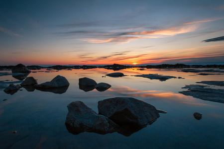 Beautiful sunset on the eastern shore of Lake Baikal. Siberia