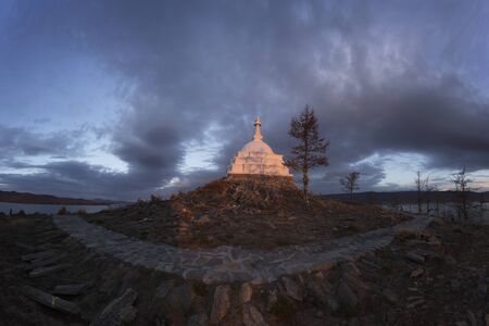 Buddhist stupa in Baikal at morning time Banco de Imagens