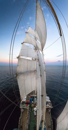 frigate: Panorama old frigate filmed the mast at sunset