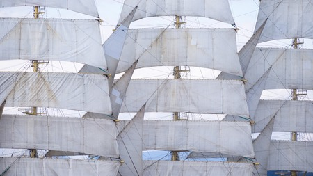 Three-masted frigate sails in the wind Banco de Imagens