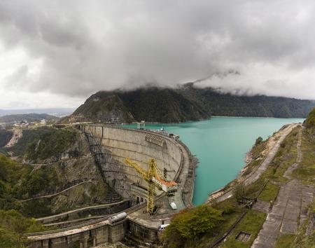 The dam on the Inguri River in Svaneti. Georgia.