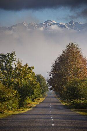 The road to Svaneti in Georgia in oktober
