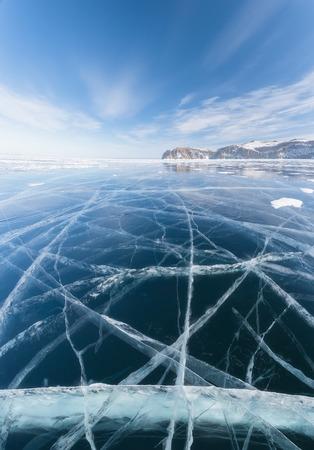 Pure ice of Lake Baikal and the island of Olkhon 版權商用圖片