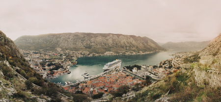 Panorama of bay and city of Kotor