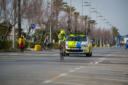 Camaiore, Italy - March 11, 2015: Professional cyclist during the first stage of Tirreno Adriatico 2015