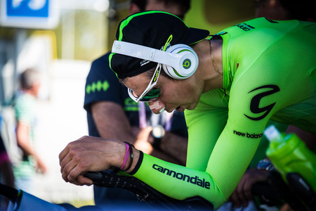 Apeldoorn, Netherlands May 6, 2016; David Formolo is warming up concentrated on the rollers before the Time Trial internships at Apeldoorn.