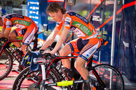 internships: Apeldoorn, Netherlands May 6, 2016; Damiano Cunego is warming up concentrated on the rollers before the Time Trial internships at Apeldoorn. Editorial