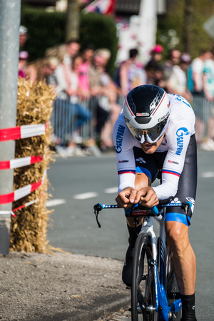 Apeldoorn, Netherlands May 6, 2016; Professional cyclist During the first stages of the Tour of Italy in 2016, a Time Trial flat internship in Apeldoorn. Editorial