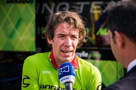 Apeldoorn, Netherlands May 6, 2016; Rigoberto Uran during an interview, after the first stages of the Tour of Italy in 2016 started in Netherlands
