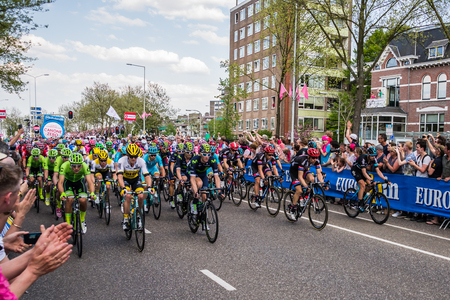 internships: Nijmegen, Netherlands May 7, 2016; Professional cyclists speeding up the pace before the sprint to Nijmegen