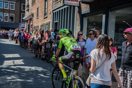 internships: Nijmegen, Netherlands May 8, 2016; David Formolo professional cyclist During transfer from bus to the start of the third stage of the Tour of Italy in 2016 in Nijmegen
