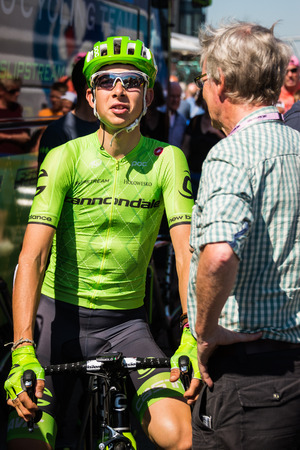 internships: Nijmegen, Netherlands May 8, 2016; David Formolo professional cyclist during an interview before the third stage of the Tour of Italy in 2016 in Nijmegen Editorial