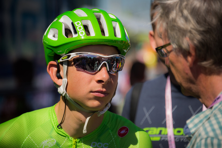 argyle: Nijmegen, Netherlands May 8, 2016; David Formolo professional cyclist during an interview before the third stage of the Tour of Italy in 2016 in Nijmegen Editorial