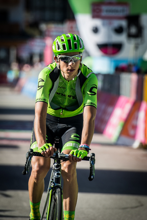 internships: Corvara, Italy May 21, 2016; David Formolo, professional cyclist, pass the finish line of the Queen Stage of the Tour of Italy in 2016 with arrival in Corvara.