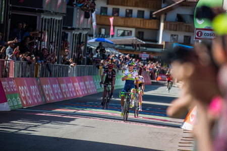 internships: Corvara, Italy May 21, 2016; Esteban Chaves, professional cyclist, pass the finish line and win the Queen Stage of the Tour of Italy in 2016 with arrival in Corvara.