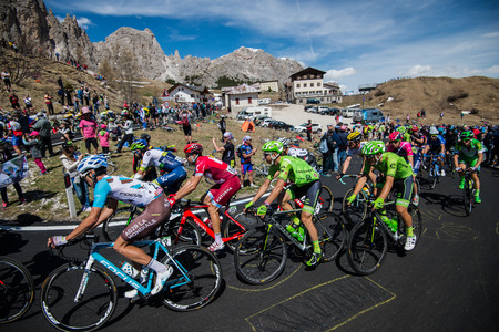 Gardena, Italy May 21, 2016; Group of professional cyclists with David Formolo During the very hard climb of Passo Gardena in the Queen Stage of the Tour of Italy in 2016 with arrival in Corvara.