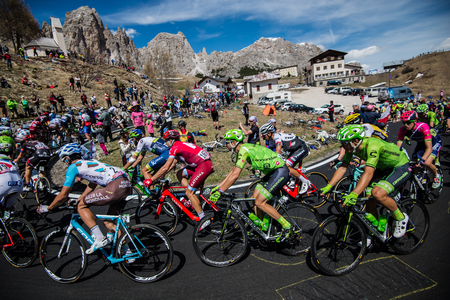 internships: Gardena, Italy May 21, 2016; Group of professional cyclists with David Formolo During the very hard climb of Passo Gardena in the Queen Stage of the Tour of Italy in 2016 with arrival in Corvara.