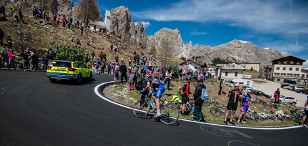 Gardena, Italy May 21, 2016; Professional cyclist During the very hard climb of Passo Gardena in the Queen Stage of the Tour of Italy in 2016 with arrival in Corvara. Editorial