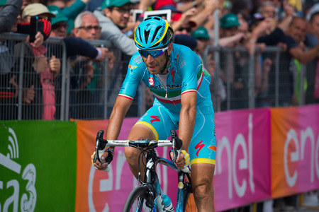 internships: Andalo, Italy May 24, 2016; Vincenzo Nibali, professional cyclist, passes the finish line of the stage from Brixen to Andalo of the Tour of Italy 2016