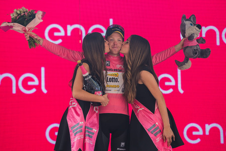 Pinerolo, Italy May 26, 2016; Steven Kruijswijk on the podium in the pink jersey is the leader of the General Classification after finishing the stage. He keeps the pink jersey after arriving in Pinerolo.