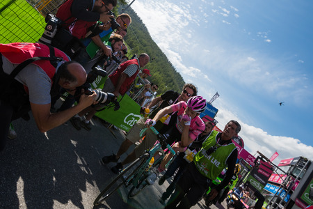 Risoul, France May 27, 2016; Steven Kruijswijk, Lotto team, exhausted on Risoul finish line, showing visible signs of fall That Caused him to lose the pink jersey.