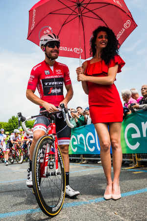 treck: Pinerolo, Italy May 27, 2016; Giacomo Nizzolo, Treck Segafredo Team, in red jersey and in the front row ready to start for the hard mountain stages from Pinerolo to Risoul in the Tour of Italy 2016