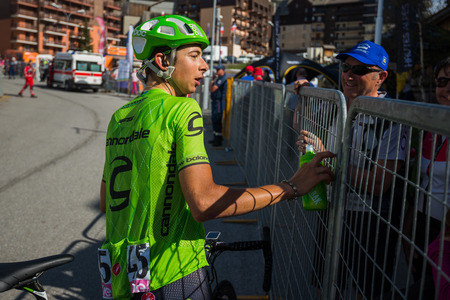 internships: Risoul, France May 27, 2016; David Formolo, Cannondale Team, exhausted passes the finish line and meet His fans after a hard mountain stage with a uphill finish in Risoul, France.