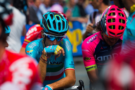 internships: Pinerolo, Italy May 27, 2016; Vincenzo Nibali, Team Astana, concentrated in the group before the start of the hard mountain stages from Pinerolo to Risoul in the Tour of Italy 2016