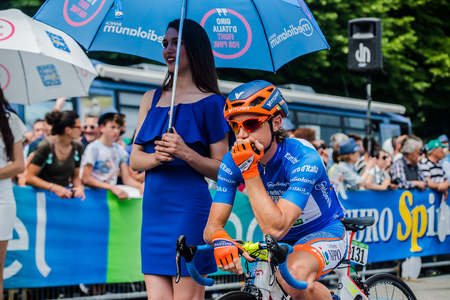 Pinerolo, Italy May 27, 2016; Damiano Cunego, Team Nippo Vini Fantini, in blue jersey and in the front row ready to start for the hard mountain stages from Pinerolo to Risoul in the Tour of Italy 2016