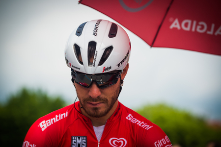 Pinerolo, Italy May 27, 2016; Giacomo Nizzolo, Treck Segafredo Team, in red jersey and in the front row ready to start for the hard mountain stages from Pinerolo to Risoul in the Tour of Italy 2016