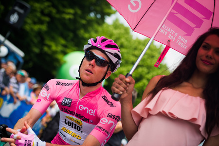 Pinerolo, Italy May 27, 2016; Steven Kruijswijk, Lotto Team, in Pink jersey and in the front row ready to start for the hard mountain stages from Pinerolo to Risoul in the Tour of Italy in 2016. Editorial