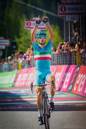 internships: Risoul, France May 27, 2016; Vincenzo Nibali, Team Astana, exhausted passes the finish line and win after a hard mountain stage with a uphill finish in Risoul, France. Editorial