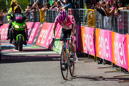 Risoul, France May 27, 2016; Steven Kruijswijk, Lotto team, exhausted passes the finish line after a hard mountain stage with a uphill finish in Risoul, France. In this internship he lost the pink jersey after a disastrous fall downhill.