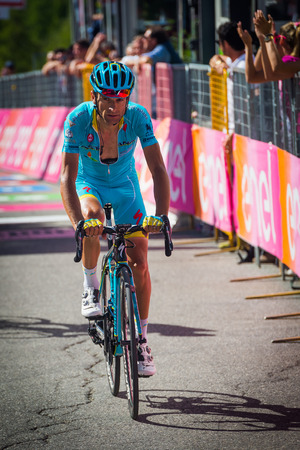 internships: Risoul, France May 27, 2016; Michele Scarponi, Team Astana, exhausted passes the finish line after a hard mountain stage with a uphill finish in Risoul, France