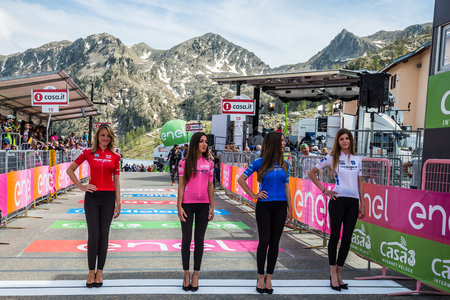 Sant Anna, Italy May 28, 2016; Parade of the Miss with the jerseys of the Tour of Italy in 2016, before the arrival of the athletes in Sant Anna di Vinadio.